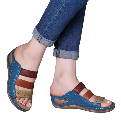 Bestwalk Orthopedic and Comfortable Toe Corrector Platform Wedge Chic Tri Color  Sandals