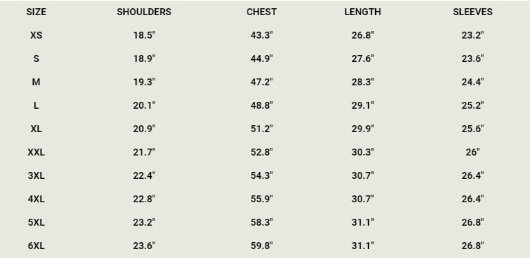 denim jacket size chart