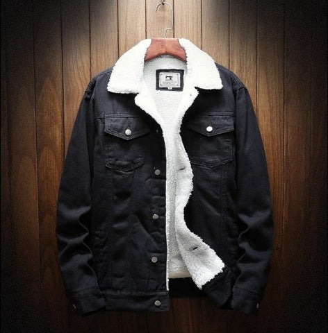 Denim jacket jean for men with fleece for winter and autumn