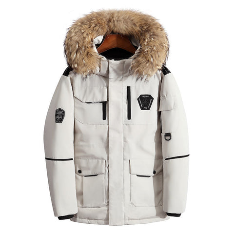 Bestwalk Thicken Winter Men's Down Jackets with Fur Collar Warm Parka