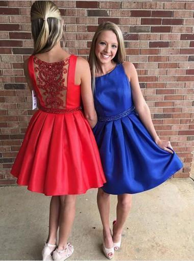 Modern Bateau Sleeveless Short Red/Royal Blue Prom Dress with Beading