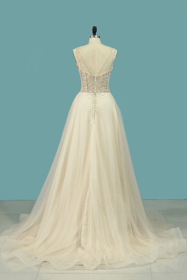 2020 A Line Spaghetti Straps Wedding Dresses Beaded Bodice Tulle PM1ABSQG