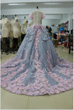 Pretty Light Blue Ball Gown Long Backless Wedding Gowns Quinceanera Dresses
