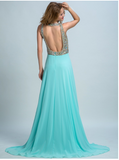 New Arrival Long Chiffon Beading Split Backless Sexy Gown For