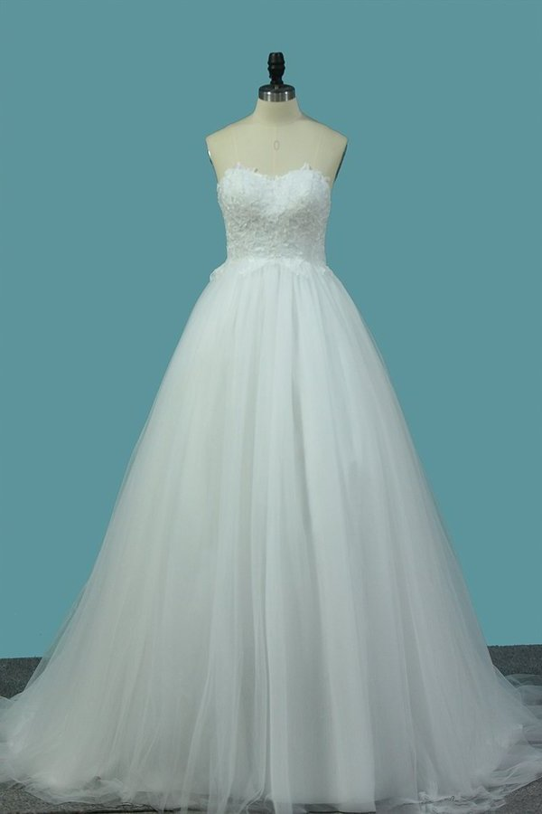 2020 A Line Sweetheart Tulle Wedding Dresses With Appliques P8AL1CF9