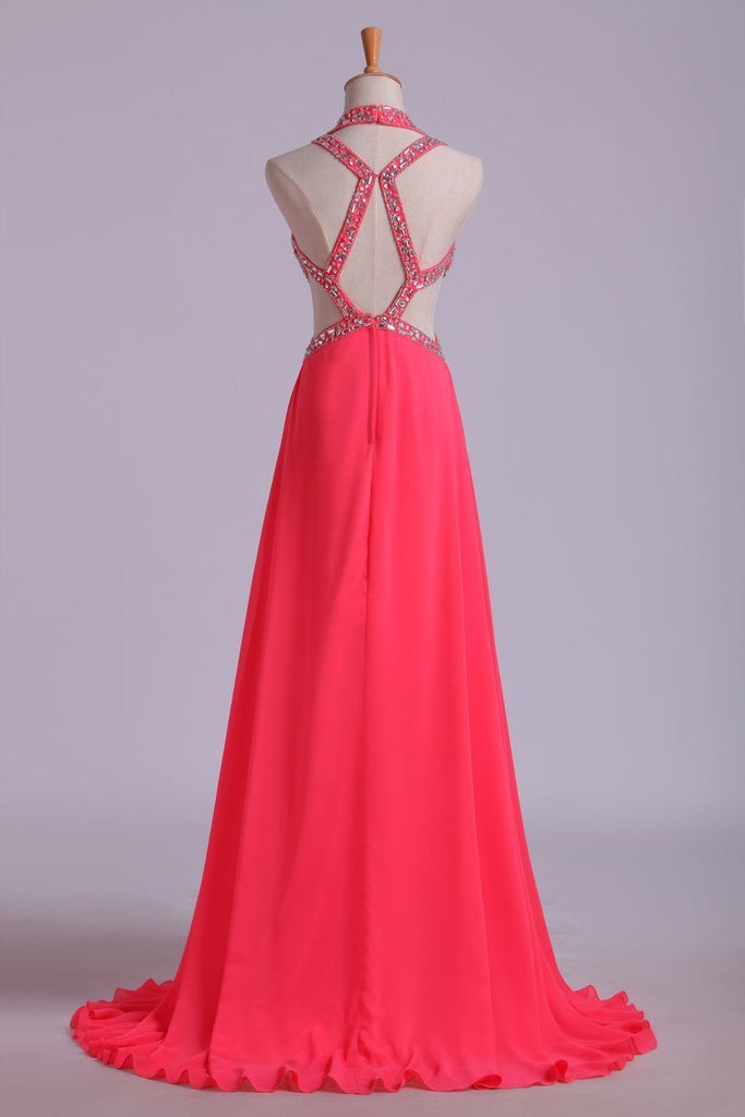 2019 Chiffon Halter Prom Dress Sexy A Line Court Train