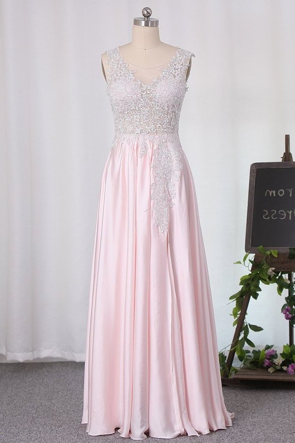 2020 New Arrival A Line Scoop Chiffon Bridesmaid Dresses With Applique P3C1SSSB