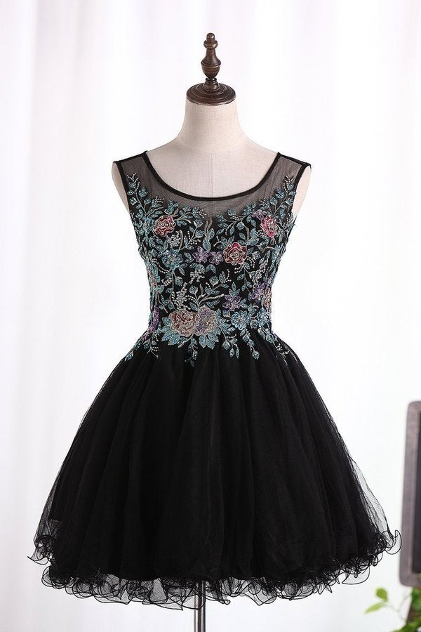 2020 A-Line Scoop Homecoming Dresses Short/Mini Tulle With Beads PNXHP471
