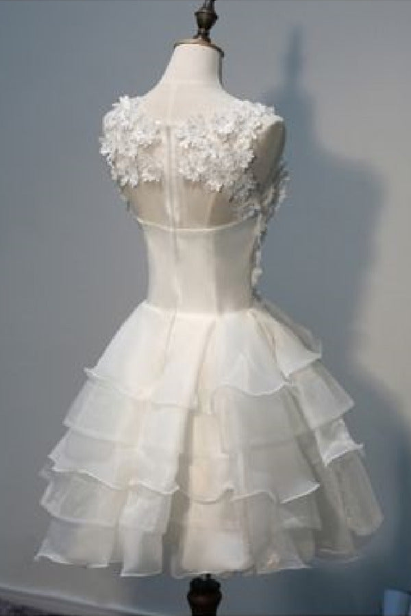 2020 A Line Scoop Organza With Handmade Flowers Short/Mini PG4MF435