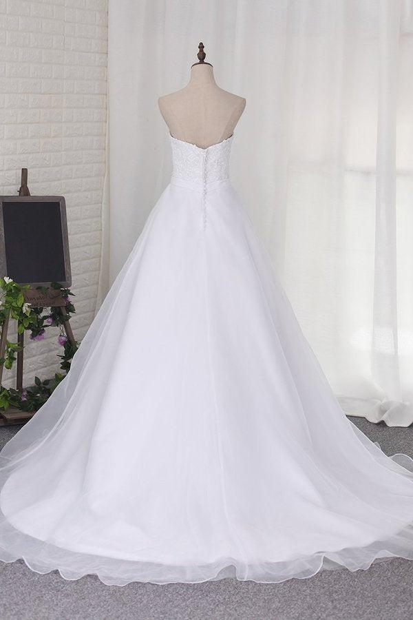 2020 A Line Sweetheart Wedding Dresses Organza PMT2MD6Z