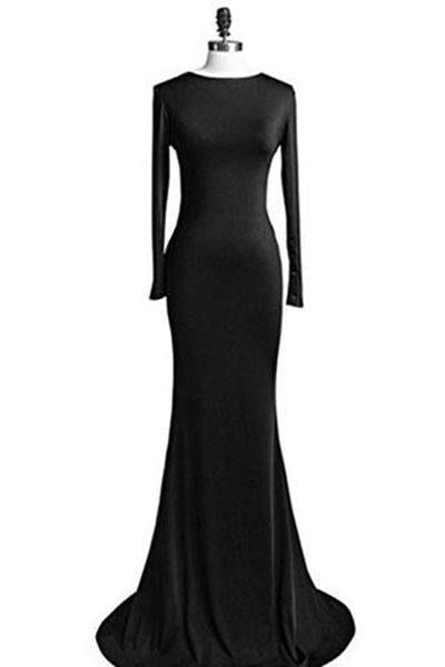 Long Sleeve Backless Sheath Party Dress Prom Gown