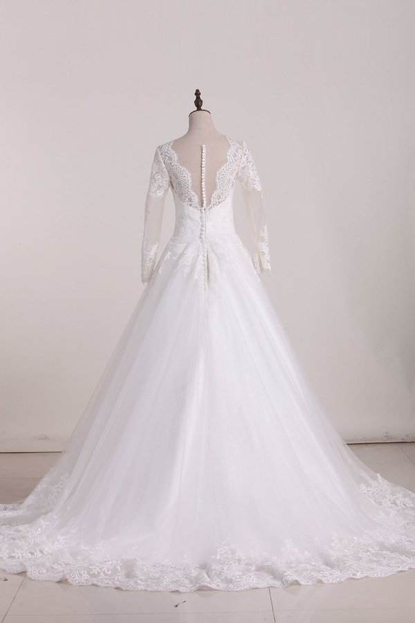 2020 A Line Scoop Long Sleeves Wedding Dresses Tulle With PEKX1D2G