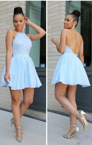 Light Blue Short Chiffon Backless Simple Homecoming Dresses