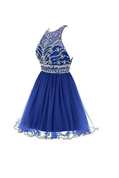 Royal Bule Tulle Short Bateau Homecoming Dresses