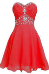 Short Chiffon Strapless Crystal Homecoming Dress