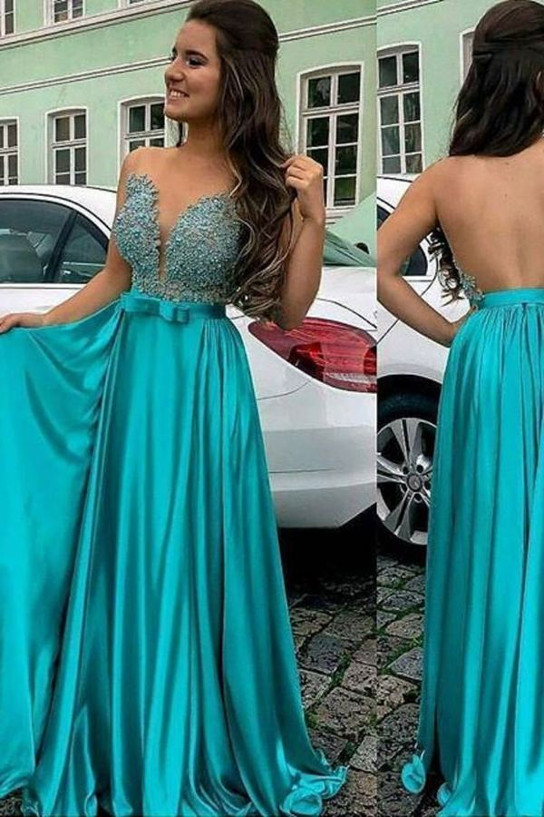 2020 A Line Scoop Prom Dresses Satin & Tulle With Applique PB2LSHHZ