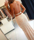 Sweetheart Sequin New Gorgeous Long Sweet 16 Gowns Mermaid Backless Prom Dresses