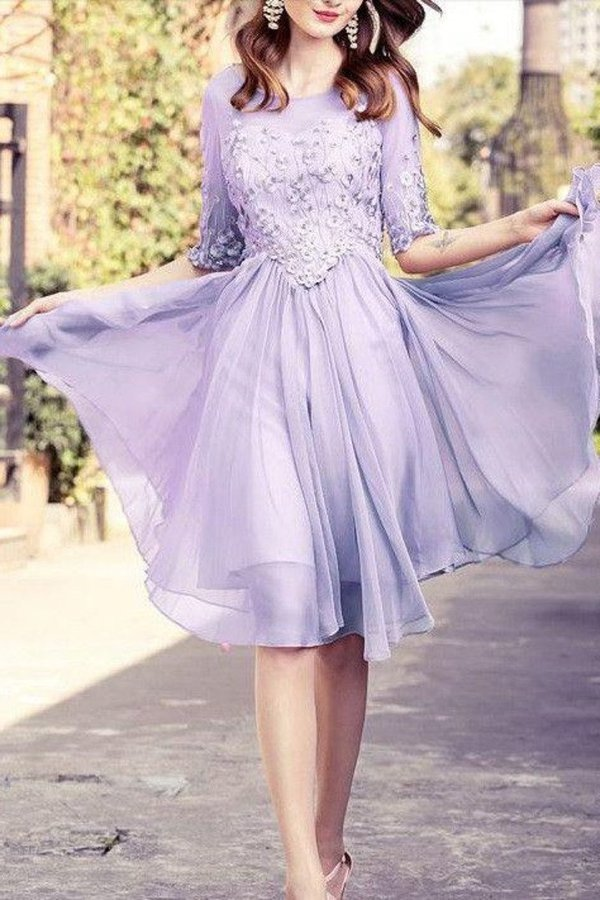 2020 A Line Scoop Mid-Length Sleeves Homecoming Dresses Chiffon PXZK1KA6