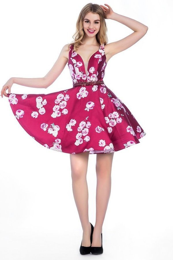 2020 A Line V-Neck Short/Mini Satin Floral Homecoming P429NS6R