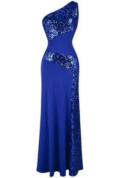 One Shoulder Sleeveless Sequin Maxi Prom Dresses