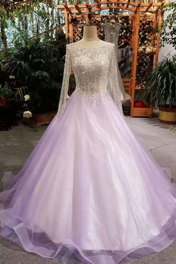 2020 A-Line Tulle Prom Dresses Lace Up With Bling Bling Beaded Bodice Full Sleeves PK1FZFTS