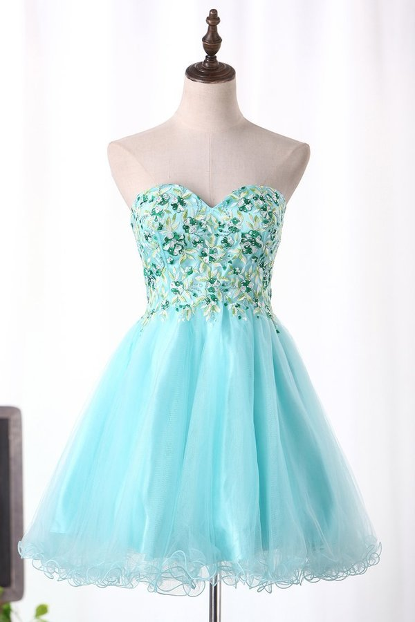 2020 A-Line Sweetheart Homecoming Dresses Short/Mini Tulle With Embroidery PEMN2PM3