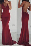 Sexy Backless Cocktail V-Neck Mermaid Spaghetti Straps Sleeveless Burgundy Prom Dresses