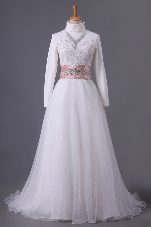 2020 Muslim Wedding Dresses Sweetheart A Line With Applique And Beads PZC81TAT