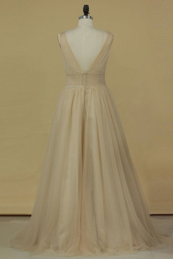 2020 A Line V Neck Open Back Bridesmaid Dresses Ruched Bodice Tulle Floor P5P97Y12
