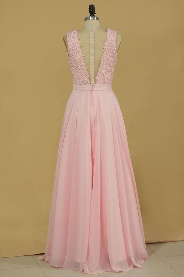 2020 A Line Scoop With Sash And Applique Chiffon Prom P366M534