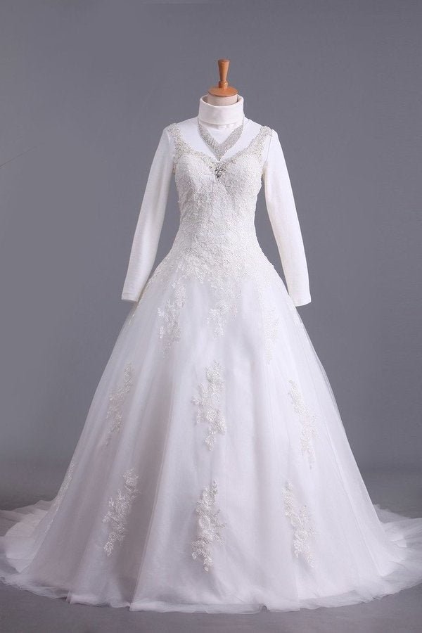 2020 Muslim Wedding Dress Sweetheart A Line Court Train With Applique & Sash PLC2TLGM