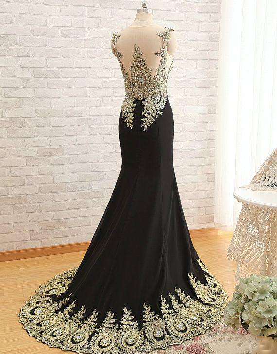 New Arrival Gold Lace Black Mermaid Scoop Sleeveless Yarn Crystal Long Evening Dresses