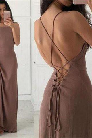 New Arrival Spaghetti Straps Charming Simple Long Criss Cross A-Line Scoop Prom Dresses
