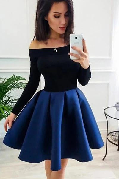 Long Sleeve Off the Shoulder Satin Royal Blue Homecoming Dresses Short Prom Dresses