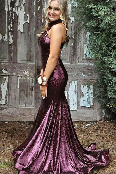 Mermaid High Neck Purple Sequin Evening Dresses Cheap Sleeveless Prom Dresses