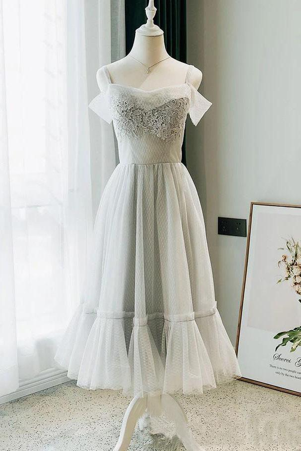 Modest Off the Shoulder Lace Short Formal Dress with Lace up Homecoming Dresses