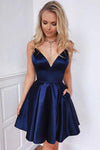 Navy Blue Spaghetti Straps V Neck Homecoming Dresses with Pockets V Neck Cocktail Dress