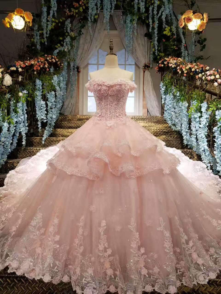 Tulle Awesome Pink Wedding Dresses Off The Shoulder Lace Up With Appliques And Crystals