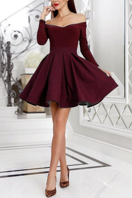 Purple Off the Shoulder Long Sleeve Homecoming Dresses Above Knee Short Prom Dresses