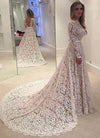 Long Sleeves Full Lace Open Back Sash Large Train Unique Style Vintage Wedding Dress