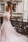 Sexy Pink Tulle Mermaid Wedding Dresses Backless V Neck Lace Bodice Bridal Dresses