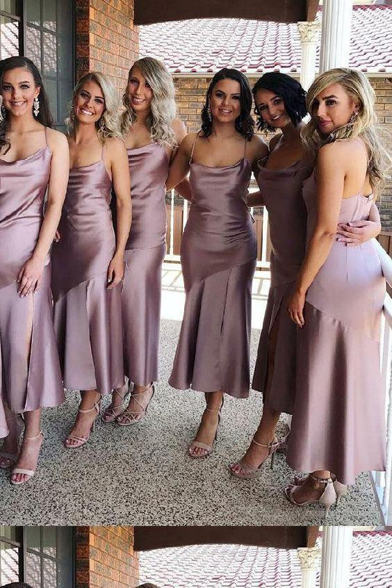 Sheath Spaghetti Straps Tea Length Lilac Bridesmaid Dress With Split Prom Dresses