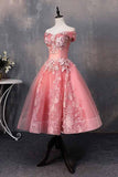 Short Bateau Appliques Beads Off the Shoulder Quinceanera Dresses Homecoming Dress