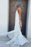 Simple Halter Mermaid Lace Appliques Wedding Dress Backless Beach Bridal Gowns