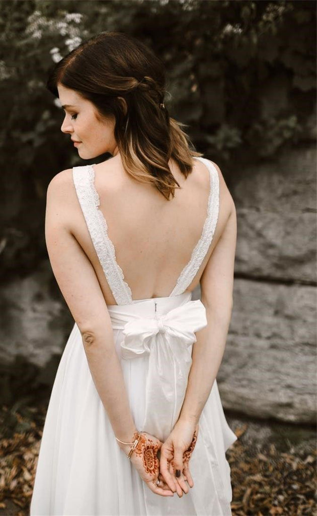 V Neck Chiffon Backless Ivory Straps Wedding Dresses with Lace Long Bridal Dresses