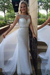 White Backless Sheer Silver Beaded Bodice with Sparkle Long Chiffon Sequin Prom Dresses