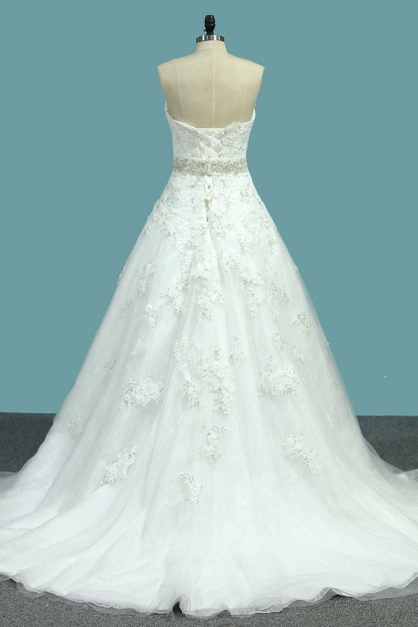 2020 New Arrival A Line Sweetheart Tulle Wedding Dresses With Applique PT3GHZTE