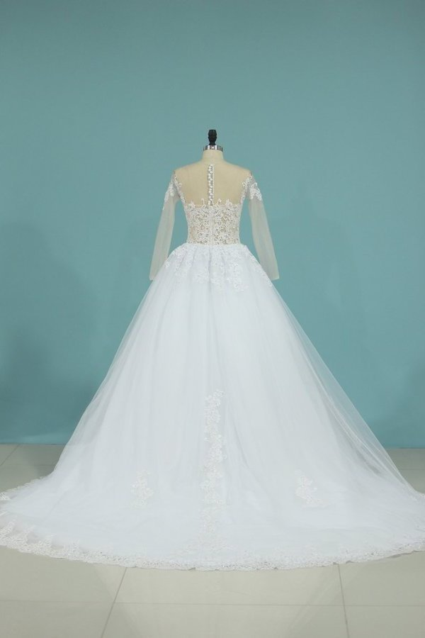2020 New A Line Scoop Long Sleeves Wedding Dress Tulle P57YR3RA
