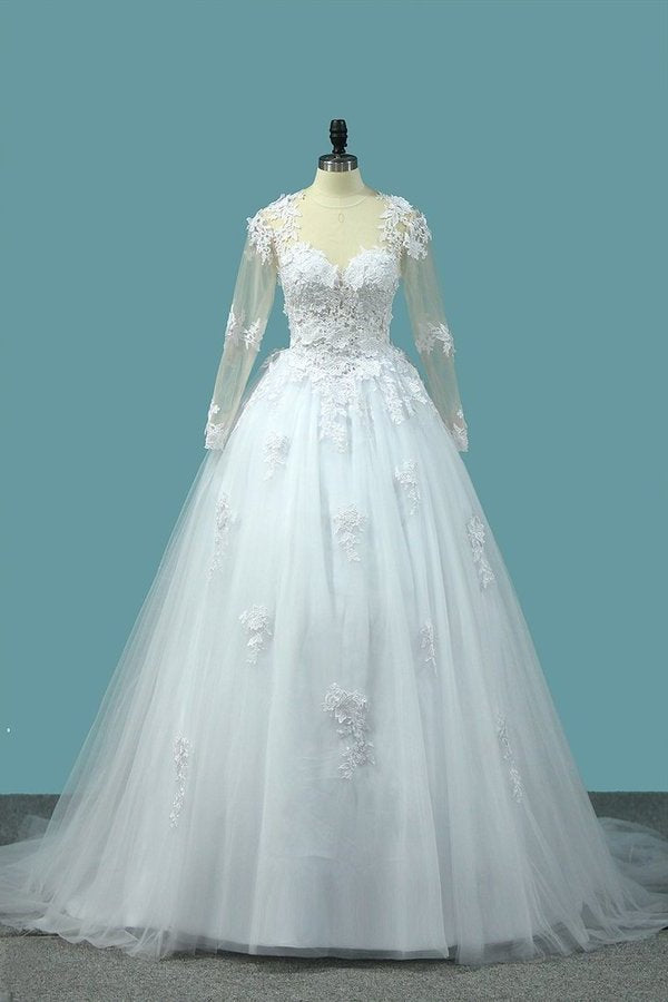2020 A Line V Neck Long Sleeves Wedding Dresses Tulle PA96Z51S