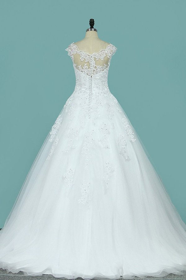 2020 A Line Scoop Tulle With Applique Wedding Dresses PN35T3ES